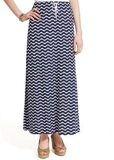 Tommy Hilfiger Chevron-Print Drawstring Maxi Skirt