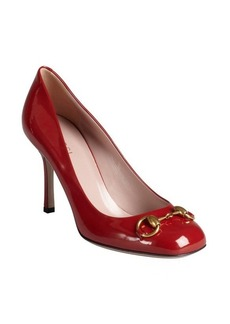 Gucci red patent leather 'Vernice' horsebit pumps