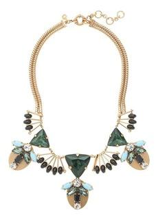 Fanned jewel statement necklace