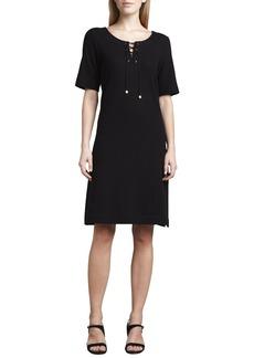 Joan Vass Pique Lace-Up Dress, Petite