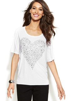 INC International Concepts Scoop-Neck Studded Heart Top