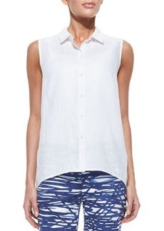 Lafayette 148 New York Daisy Sleeveless Button-Down Blouse, White