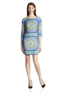 laundry BY SHELLI SEGAL Women's Three-Quarter Sleeve Scarf-Print Dress