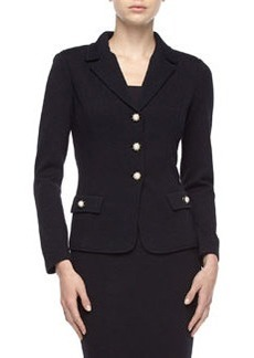 St. John Santana Knit  Pearl-Bead Button Jacket