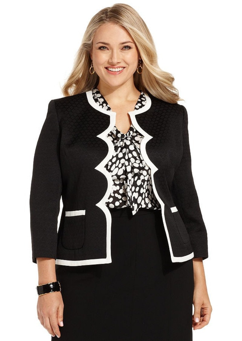 Kasper Kasper Plus Size Textured Scallop-Trim Blazer ...
