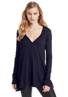 Three Dots Women's Long Sleeve Relaxed V-Neck Tunic Hoody with Kangaroo Pockets
