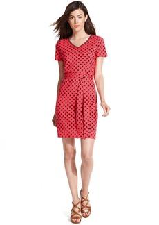 Tommy Hilfiger Short-Sleeve Geo-Print Belted Dress