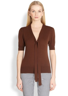 Michael Kors Puffed Sleeve Tie-Neck Sweater
