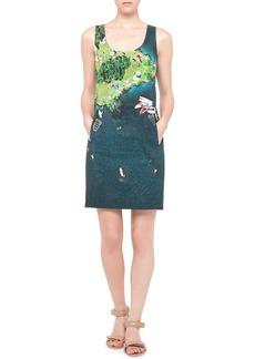 Akris punto Wind-Surf Printed Sheath Dress, Green/Multi