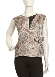 Lafayette 148 New York Rina Faux-Wrap Top, Shale/Multi