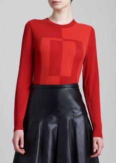 Jason Wu Colorblock Instarsia Crewneck Sweater, Red