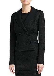 St. John Collection Shimmer Tiger Punto Riso Knit Fitted Double Breasted Jacket with Crepe Marocain Collar and Pocket Flaps