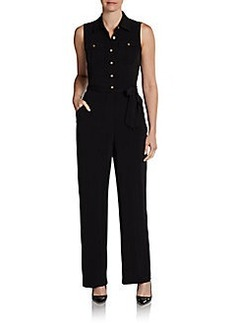 Calvin Klein Tie Belt Button-Front Jumpsuit