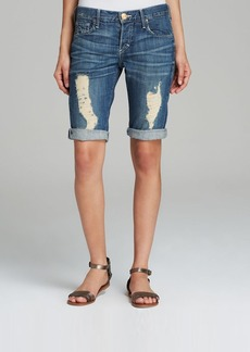 True Religion Shorts - Stoney Point Relaxed Bermuda in Medium Wash Destroyed