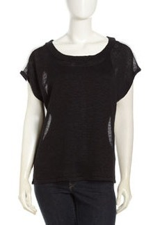 Central Park West Neon Zip Back Top, Black/White