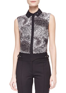 Jason Wu Sleeveless Printed Silk Blouse, Black