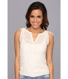 Lucky Brand Natural Embroidered Top