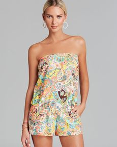 Shoshanna Bohemian Solids Swim Cover Up Romper