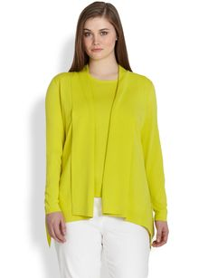 Lafayette 148 New York, Sizes 14-24 Shawl-Collar Peplum Cardigan