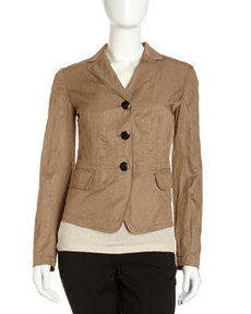 Lafayette 148 New York Della Textured Jacket, Mineral