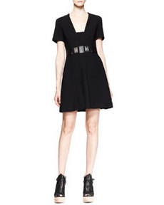 Short-Sleeve Turn-Lock-Waist Dress   Short-Sleeve Turn-Lock-Waist Dress
