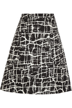 Marni Printed satin-twill A-line skirt
