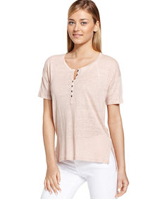 Calvin Klein Jeans Short-Sleeve Heathered Henley Top