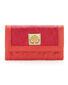 Betsey Johnson Be My Wonderful Pebbled Quilted Flapover Wallet, Red/Fuchsia