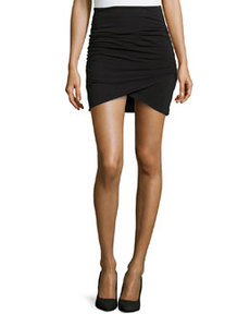 James Perse Wrap-Style Draped Mini Skirt, Black