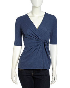 Lafayette 148 New York Half-Sleeve Draped Stretch-Knit Blouse, Denim Blue