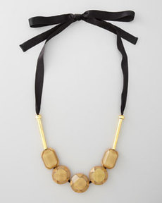 Marni Resin Bead Ribbon Necklace, Malt