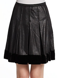Catherine Malandrino Annora Faux-Leather Pleated Skirt