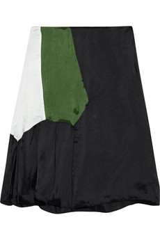 Marni Color-block satin-twill skirt