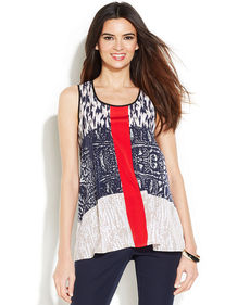 Alfani Petite Sleeveless Mixed-Print Swing Top
