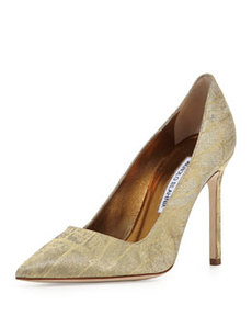 BB Metallic Croc-Print 105mm Pump, Gold   BB Metallic Croc-Print 105mm Pump, Gold