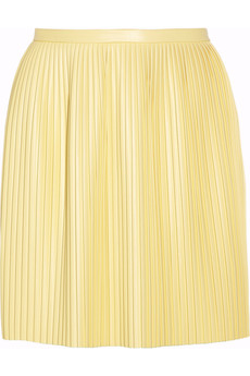 Tibi Eniko pleated faux leather mini skirt