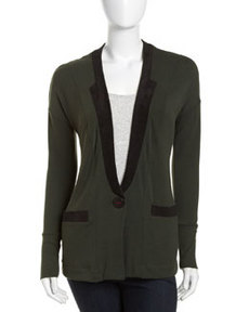 Three Dots Faux-Suede Trim Cardigan, Winter Forest