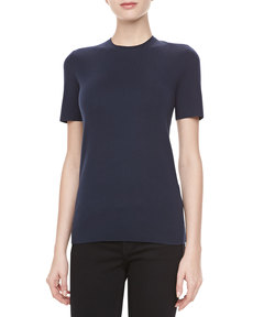 Michael Kors Cashmere Crewneck Short-Sleeve Top, Midnight