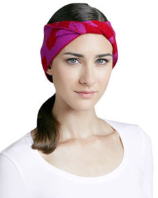 Chloe Lip-Print Head Wrap, Berry/Cherry   Chloe Lip-Print Head Wrap, Berry/Cherry
