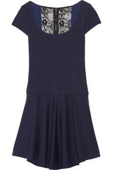 Alice + Olivia Rylie lace-trimmed wool dress