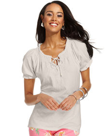 Charter Club Top, Short-Sleeve Embroidered Peasant
