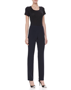 Michael Kors Double-Faced Slim Pants, Midnight