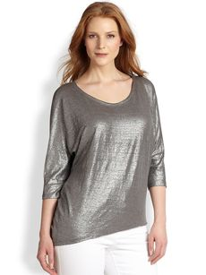 Eileen Fisher, Sizes 14-24 Metallic Linen Top