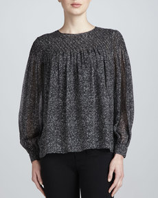 Michael Kors Long-Sleeve Silk Herringbone Blouse
