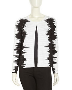 Lafayette 148 New York Graphic Print Striped Cardigan, Black Multi-