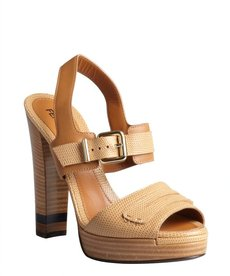 Fendi tan pebbled leather penny loafer strap platform sandals
