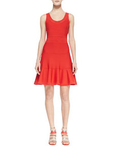 Perry Sleeveless Fit-and-Flare Dress, Chili Pepper   Perry Sleeveless Fit-and-Flare Dress, Chili Pepper