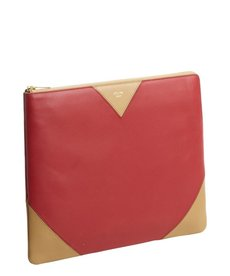 Celine red and camel leather iPad clutch