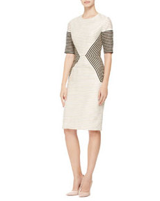 Striped Peaked-Panel Dress   Striped Peaked-Panel Dress