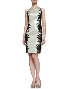 Sleeveless Two-Tone Cocktail Dress, Champagne/Black   Sleeveless Two-Tone Cocktail Dress, Champagne/Black